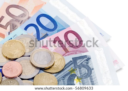 A selection of Euro notes and coins.