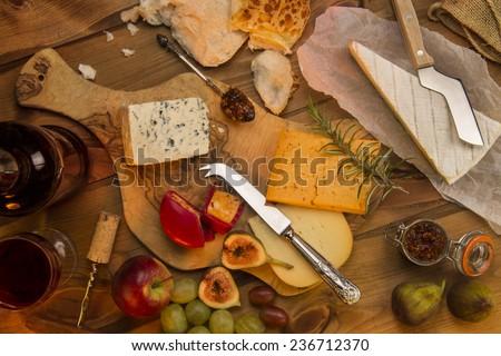 A selection of European Cheese - stock photo
