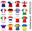a selection of football strips showing the flags of all the competing countries of the 2012 european championship football tournament. - stock photo