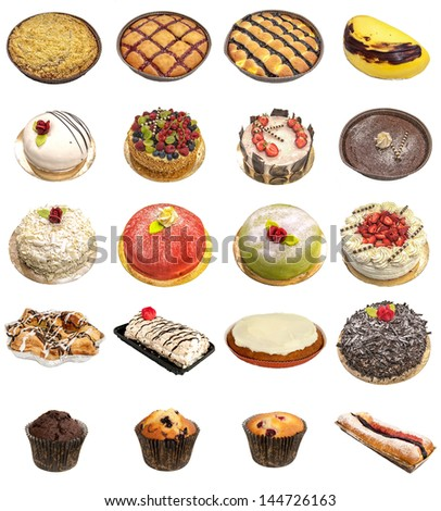 A selection of freshly baked cakes and tarts isolated on a white background.