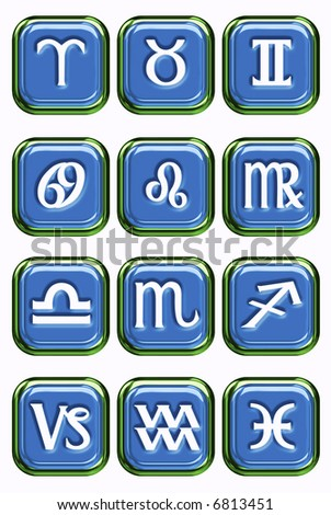 A selection of glossy looking astrology icons on a white background