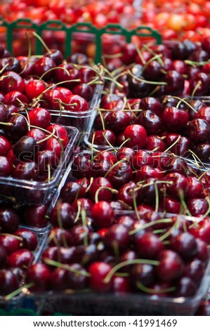 A selection of red cherries.
