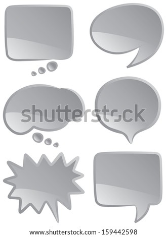 A selection of speech and thought bubbles in monochromatic coloring. - stock photo