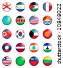 A selection of the flags of the nations of the world done in the style of small retro button badges. - stock vector