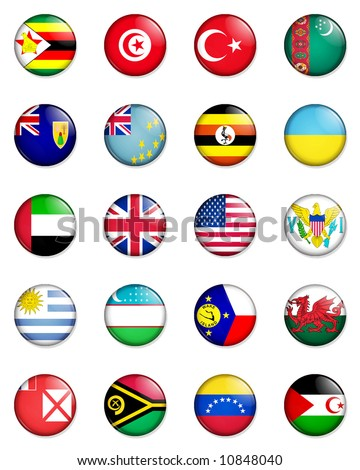 A selection of the flags of the nations of the world done in the style of small retro button badges. - stock photo