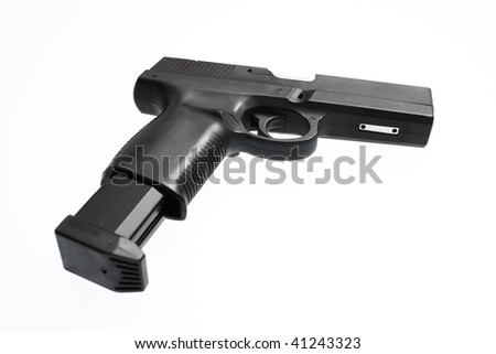 A semiautomatic pistol with an extended magazine.