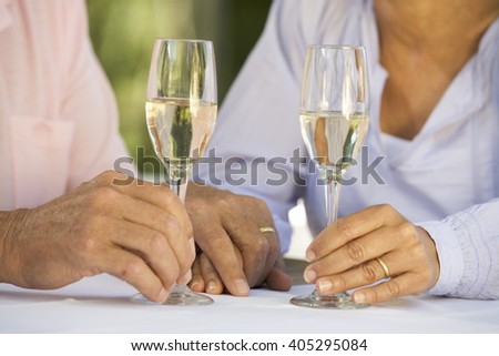 A senior couple celebrating close-up of hands and champagne flutes - stock photo