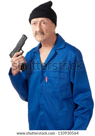 A senior man contemplates suicide whilst holding a handgun. - stock photo
