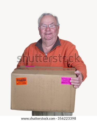 a senior man with a delivery box - stock photo