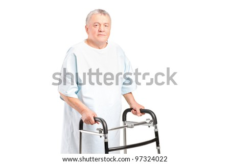 A senior patient using a walker isolated on white background