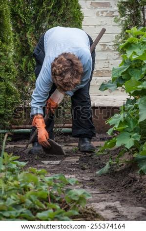 a senior person gardening - stock photo