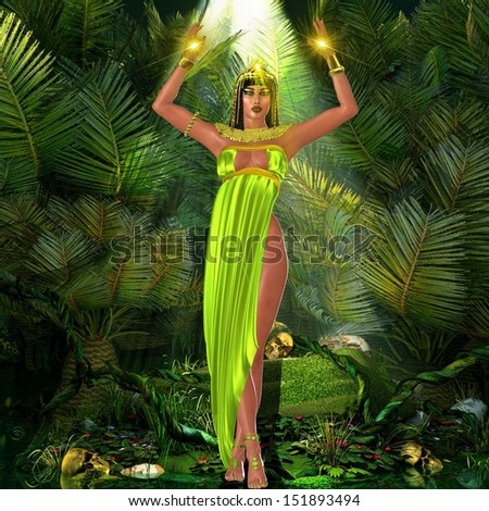 A sensual Earth Goddess standing amongst plants with her arms raised and mystical lights illuminating the scene.  Her green dress and bare feet speak of her connection with the Earth. - stock photo