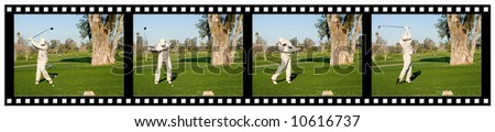A sequence filmstrip of a golfer hitting a tee shot with a driver - stock photo