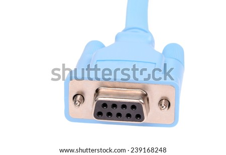 A serial communications connector marked RS 232. Isolated on white background. No shadows on the background. - stock photo