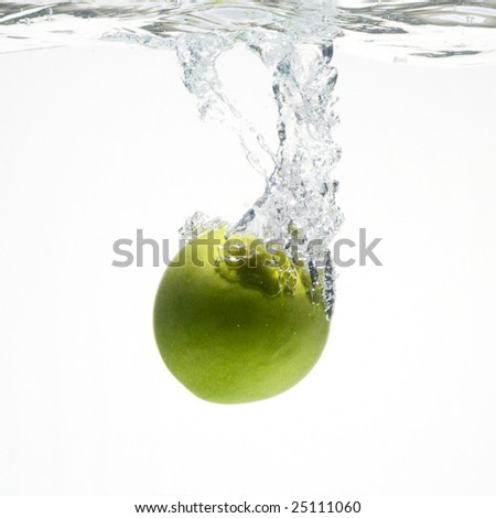 A series, green apples in water