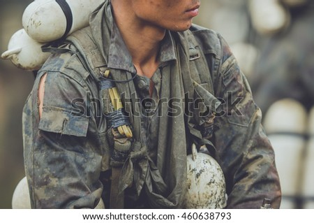 A series of military dirty with mud in combat training.