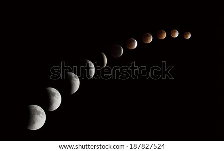 A series of total lunar eclipse - stock photo