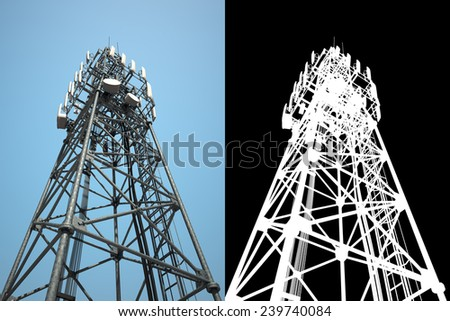 a series of views. communications tower with a mask for accurate and high-quality selection. can be used for your design, web design, advertising and in printed materials, etc. - stock photo