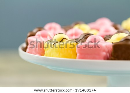 A series on French Fondant Fancies, a type of Petit Four - stock photo