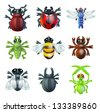 A series set of colourful insect bug icons, including ladybird mantis dragonfly bee ant grasshopper fly and other beetles - stock photo