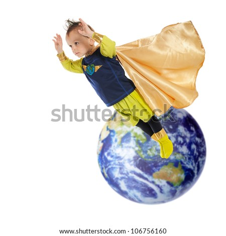 A serious preschool superhero flying high and away from planet earth.  Elements of this image furnished by NASA.  On a white background. - stock photo