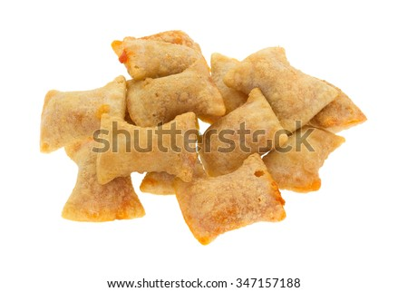 A serving of bite size pizza rolls isolated on a white background. - stock photo