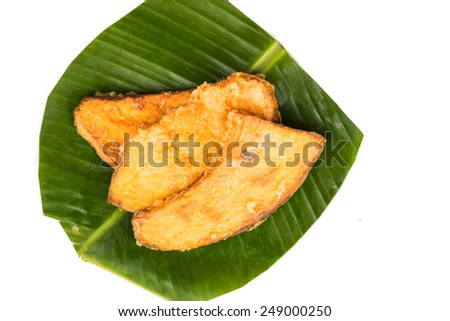 A serving of fried sweet potatoes (keledek goreng), a popular snack in Malaysia, Singapore, Indonesia and Thailand - stock photo