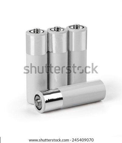 A set a of AA size batteries on white background with clipping path - stock photo