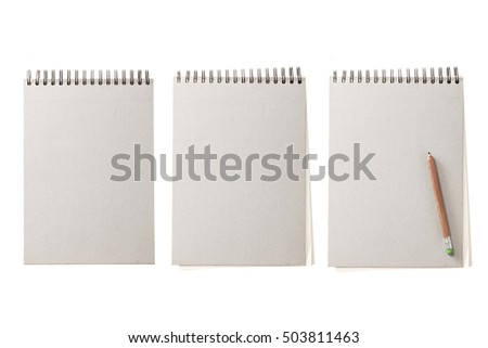 A set(group) of vintage grey empty(blank) ring note with pencil for fall(autumn) isolated white.