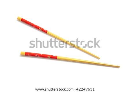 A set of asian chopsticks on a white background - stock photo