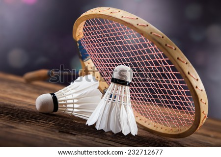 A set of badminton. Paddle and the shuttlecock. Studio shot