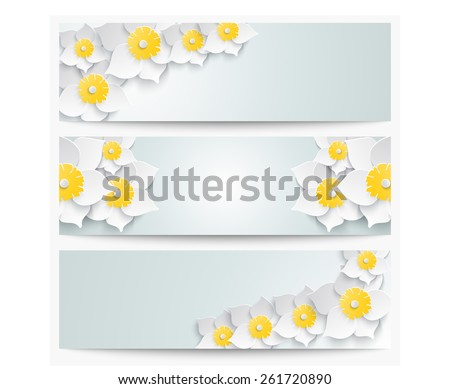 A set of banners with 3d white daffodils. Spring floral paper  labels. - stock photo
