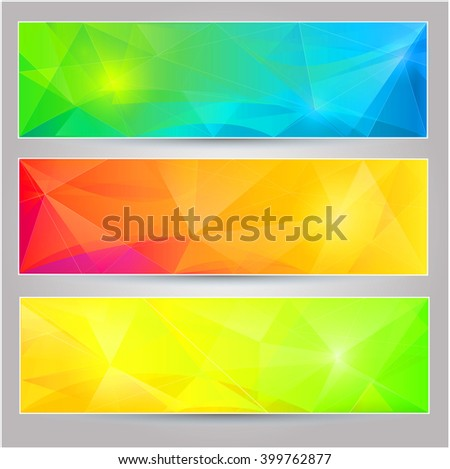 A set of  banners with polygonal background