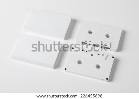 A set of blank audio cassette on white background with blank packaging - stock photo