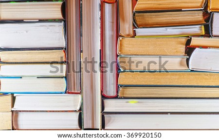 A set of books in the library. Knowledge, Science - stock photo