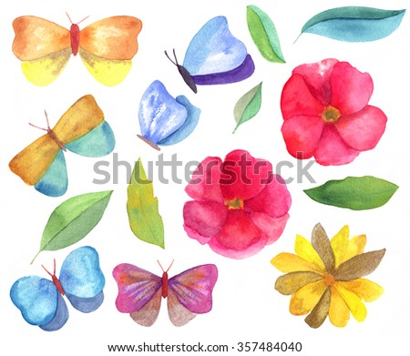 A set of bright watercolor design elements: drawings of red roses, a sunflower, butterflies and leaves, isolated on white; drawn by hand - stock photo