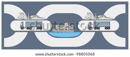 A set of chain links showing stages of a supply chain - raster logistics cartoon - stock photo