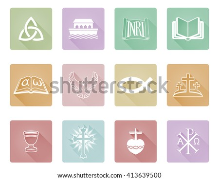 A set of Christian icons and symbols including Chi Rho,  alpha omega fish and cross - stock photo