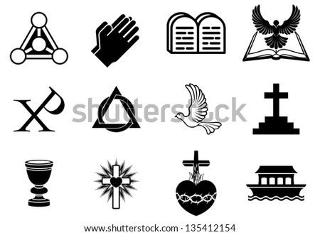 A set of Christianity icons and symbols, including dove, Chi Ro, praying hands, bible, trinity christogram, cross, communion goblet, ark and more - stock photo