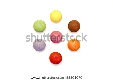 a set of color candies isolated on white - stock photo