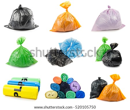 A set of colored garbage bags isolated on white background. Collage of garbage bags. Plastic, glass, paper.