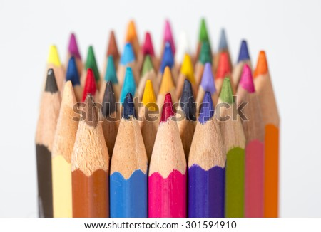 A set of colorful pencils on a white background.  - stock photo