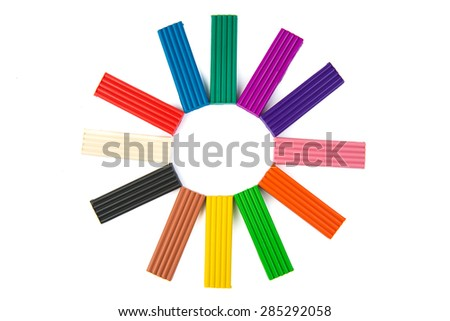 A set of colors of Modeling clay. Modeling and design for children. Rainbow colors. - stock photo