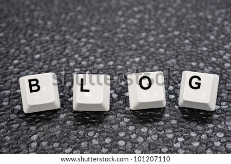 A set of computer keyboard keys spelling out BLOG.  Good for Internet and technology inferences. - stock photo
