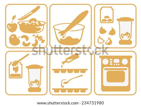 A set of cooking icons cooking fruit candy of apples and honey - stock photo