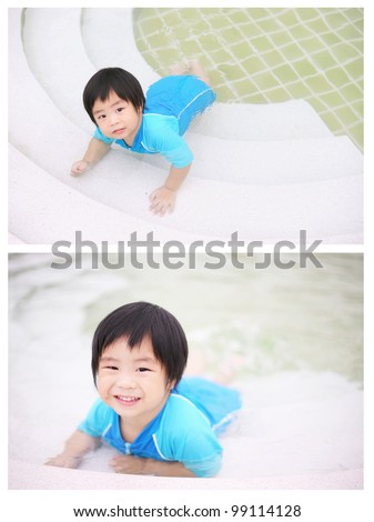 A set of cute asian kid playing in the swimming pool - stock photo