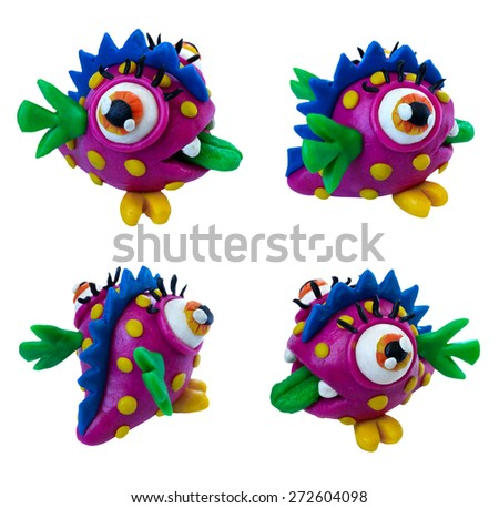 A set of cute violet plasticine monsters. - stock photo