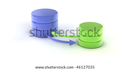 A set of databases as concept for redundancy and data distribution - stock photo