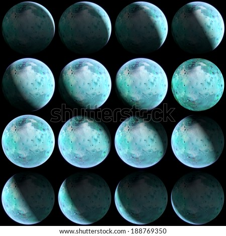 A set of different extraterrestial alien planets with atmosphere, featuring the whole cycle and texture itself. Perfect for space pictures and manipulations. Elements of this image furnished by NASA - stock photo
