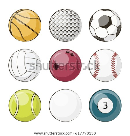 A set of different sport equipment and balls.